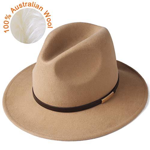 FURTALK Fedora Hats for Men Women 100% Australian Wool Felt Wide Brim Hat Crushable Packable (Leather Belt, Camel, Medium 22-22.6