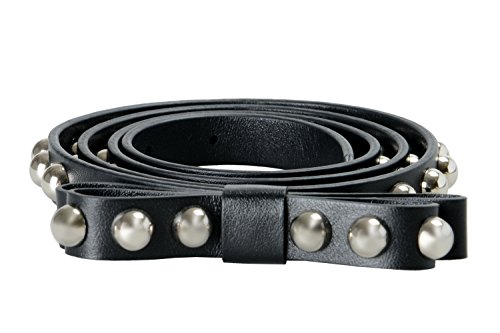 Red Valentino Leather Black Metal Beads Decorated Women's Belt Sz L