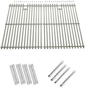 Repair Kit For Nexgrill 720-0697 BBQ Gas Grill Includes 4 Stainless Burners, 4 Stainless Heat Plates and Stainless Cooking Grates