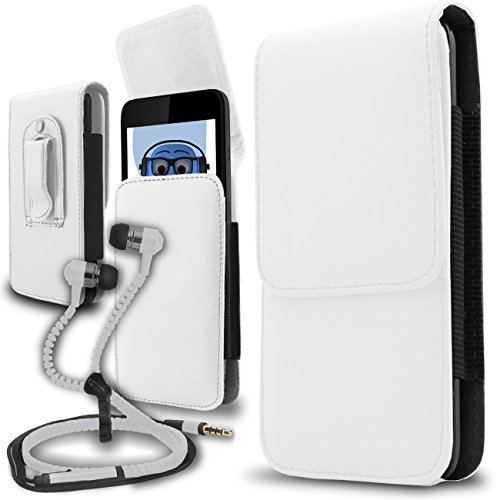 iTALKonline Gigabyte Gsmart G1305 Boston White PREMIUM PU Leather Vertical Executive Side Pouch Case Cover Holster with Belt Loop Clip and Magnetic Closure (Boston Genuine Belt)