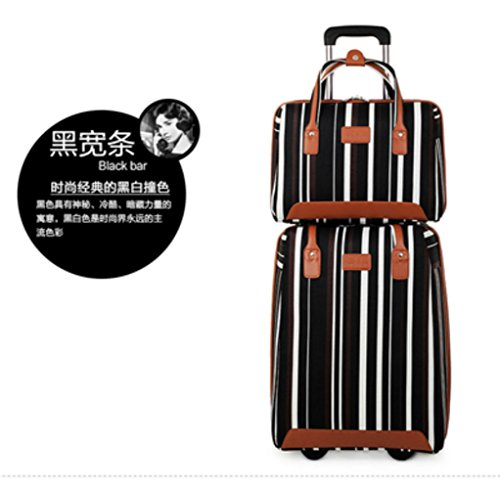 2 PCS Nylon Carry-on Suitcase Lightweight Business Luggage Set 20 Carry On Luggage with Casters and One Handbag Set (Black)