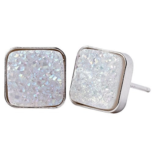 Sterling Silver Drusy Agate - YACQ Jewelry 925 Sterling Silver Agate Druzy Handcrafted Stud Earrings for Women (Square E)