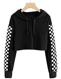 d470e1d79 Kids Crop Tops Girls Hoodies Cute Plaid Long Sleeve Fashion Sweatshirts