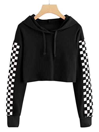 - Bluesarey Baby Girls Cute Plaid Hoodie Long Sleeve Crop Top Kids Cropped Sweatshirt for 5-14 Years Black