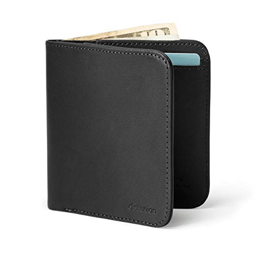 Distil Union Wally Agent Thin Minimalist Bifold Genuine Leather Wallet (Ink with RFID Blocking)