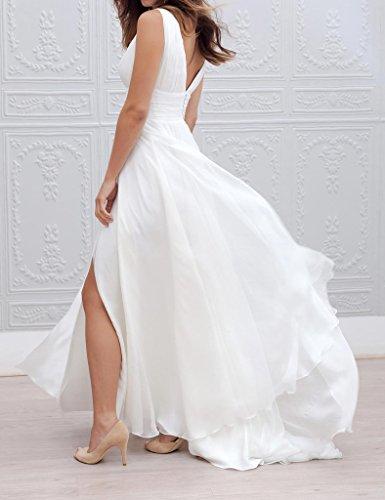 Amore Mariée Femmes Sexy En Mousseline De Soie Col V Robe De Mariage De Plage Haute Fente Blush Robe De Mariée