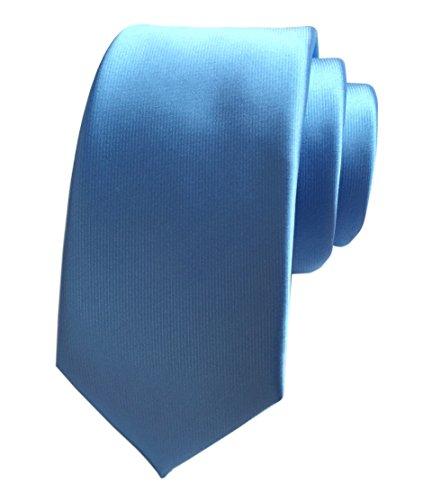 Blue Silk Narrow Ties (Secdtie Men's Sky Blue 100% Silk Self Cravat Tie 2.4