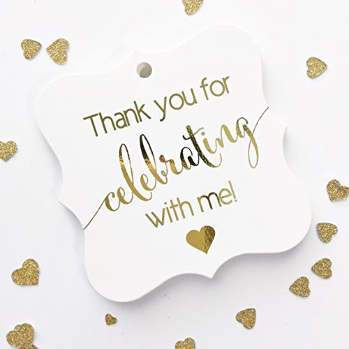 Gold Sapphire Foil - Gold Foil Party Favor Tags, Thanks for Celebrating with Me for Birthday, Wedding, Graduation, any Occassion (FS-362-ME-G)