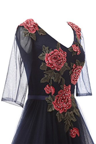 ivyd ressing Mujer Estilo Completo Flores con perlas a de línea media aermeld Prom vestido Fiesta Vestido para vestido de noche negro