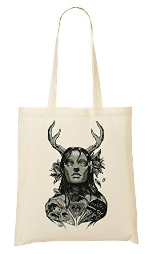 Skull Antlers Beautiful Forest Girl Handbag Shopping Bag