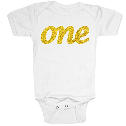 Happy Family Clothing Baby ONE First Birthday Sparkly Glitter Gold Bodysuit (18 Months, White) (Gold Glitter Shirt)
