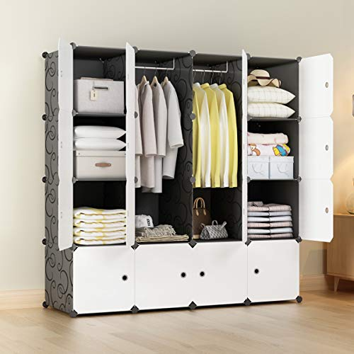 KOUSI Closet Wardrobe Portable Closet Wardrobe Closet Portable Clothes Closet Armoire with Doors, Sturdy & Durable (Black, 10 Cubes&2 Hanging Section)
