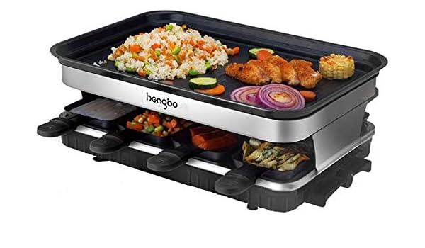 Termostato Regulable 1300W Negro Incluye 8 Mini-Sartenes y 4 Esp/átulas Antiadherente HengBO Raclette Grill con Piedra Natural y Placa Raclette 8 Personas 2-IN-1 Grill