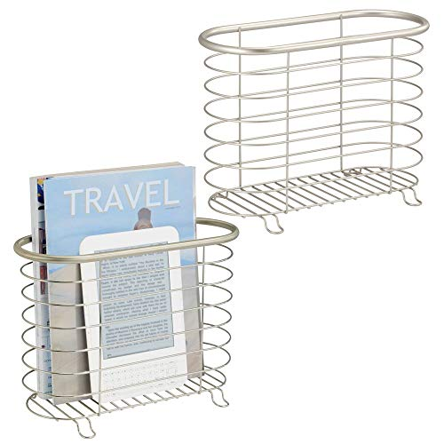 mDesign Decorative Metal Farmhouse Magazine Holder and Organizer Bin - Standing Rack for Magazines, Books, Newspapers, Tablets in Bathroom, Family Room, Office, Den - 2 Pack - Satin ()