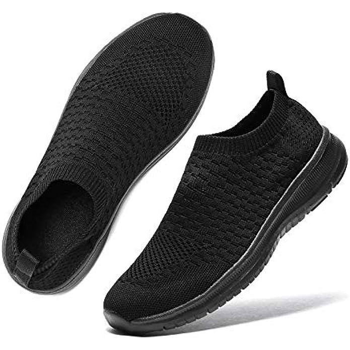 Staragon Womens Slip On Sock Sneakers White Black Tennis Shoes