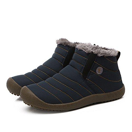 L-RUN Mens Wasserdichte Schneestiefel mit Fur Winter Casual Ankle Short Stiefel Outdoor Blau