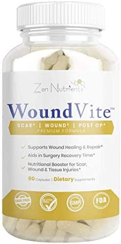 WoundVite - Wound Healing Supplement - The Most Comprehensive Wound, Scar, Post-Surgical Repair Formula - 100% Natural & GMO Free - 60 Caps