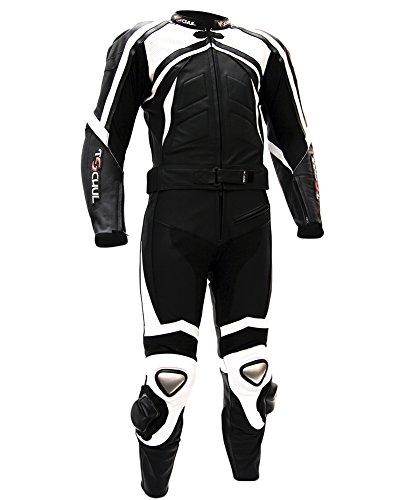 Tschul® Lederkombi Motorradbekleidung Biker Anzug Zweiteiler Motorradkombi Schwarz/Weiß, Size: 56