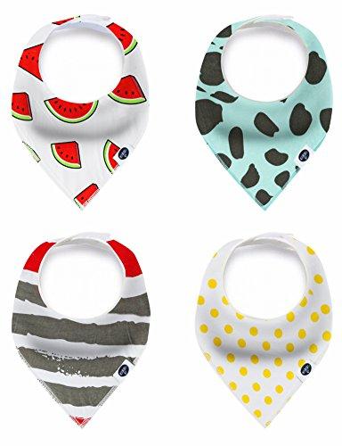 Baby Bandana Drool Bibs, 4-Pack Set 100% Organic Cotton for Boys and Girls