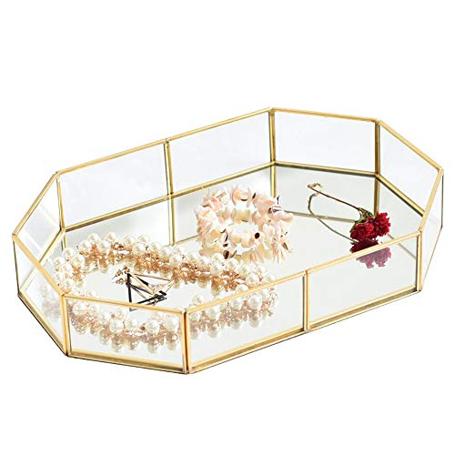 (Pahdecor Vintage Makeup Jewelry Organizer Mirrored Glass Tray Handmade Home Decorative Metal Vanity Tray,Gold Leaf Finish(Large))