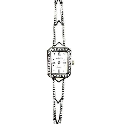(Himpokejg Quartz Wrist Watch Fashion Zirconia Rectangle Dial Roman Numerals Alloy Strap Silver)