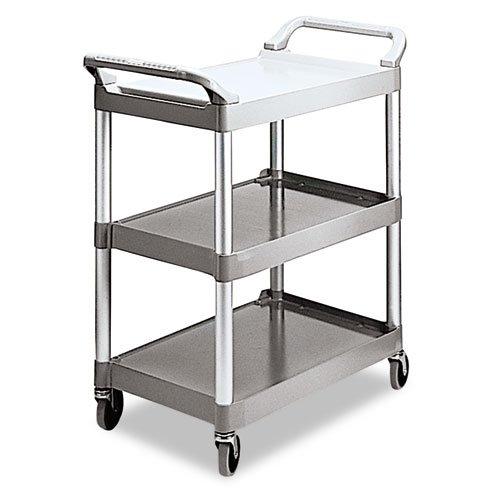 (Rubbermaid Commercial Economy Plastic Cart, 3-Shelf, 18-5/8w x 33-5/8d x 37-3/4h, Platinum - one cart.)
