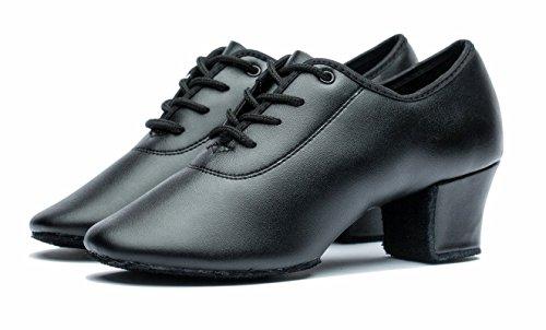Gogodance Ladies Girls Con Cordones De Cuero Negro Latin Ballroom Salsa Tango Modern Mujer's Dance Zapatos