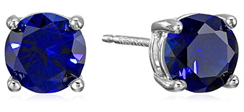 Synthetic Sapphire Earrings - Amazon Essentials Sterling Silver Round Created Blue Sapphire Birthstone Stud Earrings (September)