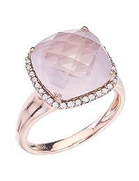 14k Rose Gold Cushion Rose Quartz and Diamond Ring