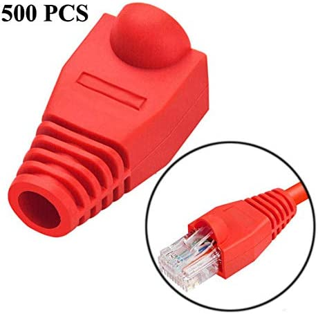 Green HUIFANGBU Network Cable Boots Cap Cover for RJ45 Yellow Color : Red Red Grey Black Green White Blue 500 pcs in one Packaging, The Price is for 500 pcs