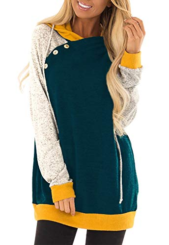 Yingkis Women's Long Sleeve Plaid Hoodies Tunic Tops Button Cowl Neck Casual Slim Blouse,Green and Mustard XXL (Long Length Sweaters To Wear With Leggings)