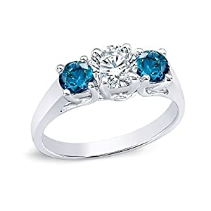 14k White Gold Round 3-Stone Diamond Engagement Ring (1 cttw, H-I, Blue, I1-I2)