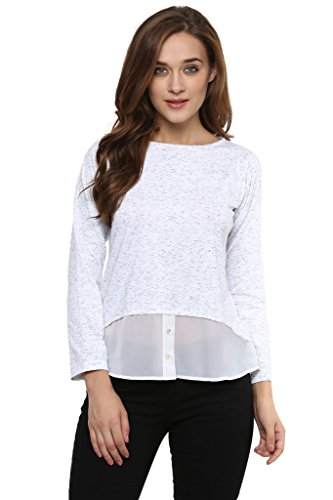 Miss Chase Womens White Solid Sheer Top