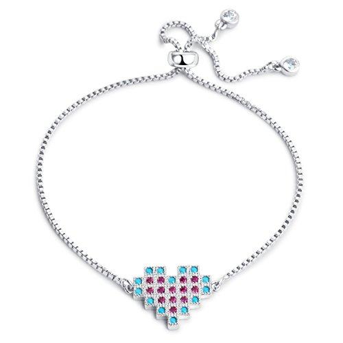 Karseer Color Crystal Pixel Heart Bracelet White Gold Adjustable Sliding Metal Knot CZ Tassel Chain Bracelet Jewelry for Girls -
