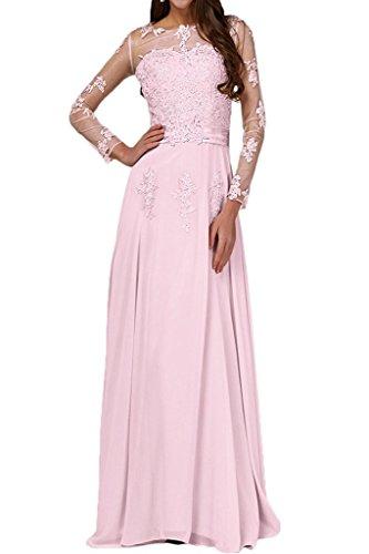 Frauen Abendkleider Hellrosa Lange rmel Zug Chiffon Sweep HWAN mit Promkleider Linie A adaq0