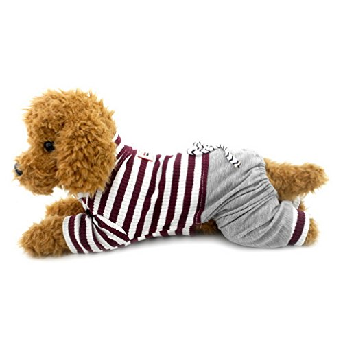 Armoire Cotton (Ranphy Small Dog Stripe Jumpsuit Puppy Pajamas with Pant Comfy Cotton Pet Clothes Cat Apparel Pyjamas PJS Shirt Boys Winter Jammies Brown Size XXL)
