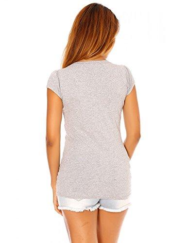 dmarkevous - Tee shirt Gris imprimé pin up - M-L, gris