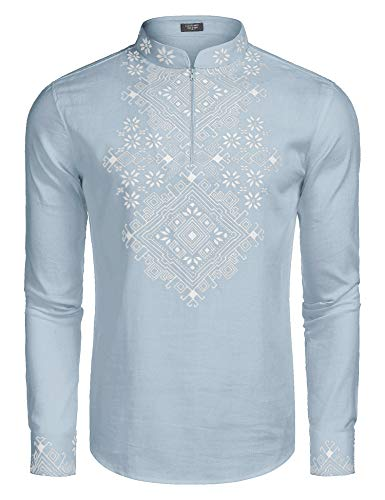 COOFANDY Men's Slim Fit Hippie Shirt Long Sleeve Floral Print Casual Zip Up Cotton Beach Party Henley T Shirt (Light Blue, Large) -