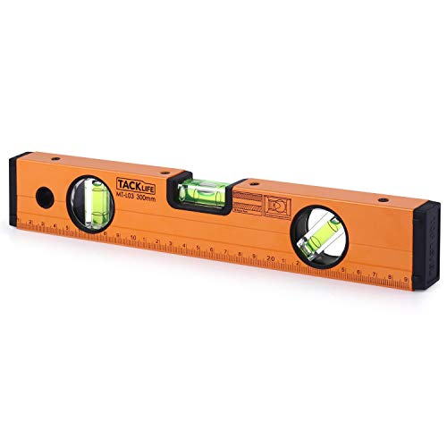 (TACKLIFE Level 12-Inch Aluminum Alloy Magnetic Torpedo Level Plumb/Level/45-Degree, Measuring Shock Resistant Spirit Level with Standard and Metric Rulers - MT-L03)