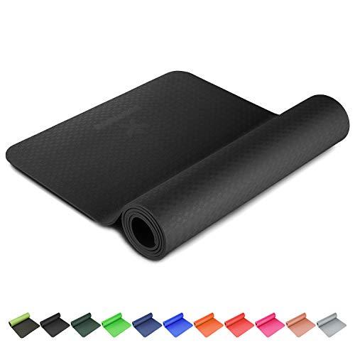 BODYMATE Yogamat PREMIUM TPE Afmetingen 183cmx61cm Dikte 6mm – getest op schadelijke stoffen door SGS, vrij van ftalaten…