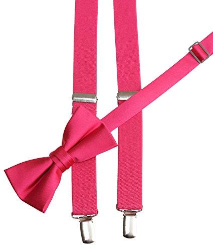 Tuxgear Mens Bow Tie and Suspender Set Combo, Watermelon, Men's 48 Inch (Mens, Watermelon) (Watermelon Bow Tie)