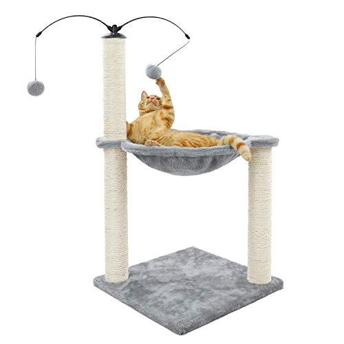 Eono by Amazon Kratzbäume Katzenmöbel Kratzbaum Katzenturm mit Sisal Kratzende Posts Hängematte Katze Bett Plattform Baumelnden Ball