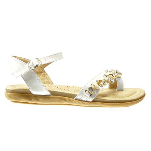 Angkorly - damen Schuhe Sandalen Flip-Flops - Schmuck - Strass flache Ferse 2 CM - Weiß