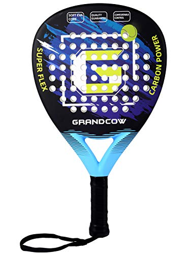GRANDCOW Beach Paddle/Padel Tennis Racket Carbon Fiber Surface with EVA Memory Flex Foam Core Diamond Shape POP Tennis Paddle Rackets (Blue)