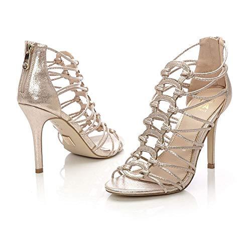 Pelle Plateado Para Moda De In Vestir Mujer Plata Zapatos q5Tg0wT