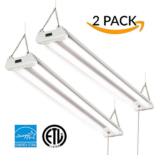 Sunco Lighting 2 PACK - ENERGY STAR, ETL 4ft 40W LED Utility Shop Light 4000lm 120W Equivalent, Double Integrated LED Fixture, 5000K Daylight Ceiling Light, Garage/Basement/Workshop, Linkable, Frosted