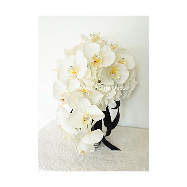 Sweet Home Deco Gel Coated Real Touch Phanaenopsis Orchid Hydrangea Diamond Wedding Bouquet Package Bridal Bouquet Bridesmaid Bouquet Boutonniere (White/Black-Cascading Bridal Bouquet)