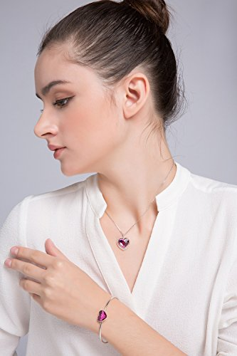 ZIOZIA Key to Heart Necklaces for Women Made with Purple Swarovski Crystal Pendant Kids Jewelry for Girls Gifts for Girlfriend and Mom