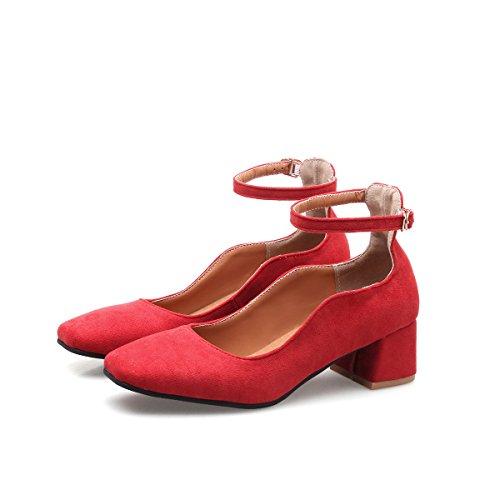 Zapatos QIN amp;X Superficial Red Boca CXQ Bloque Bombas Cuadrados Talones Mujer Toe Prom Tacones La qwU1UO