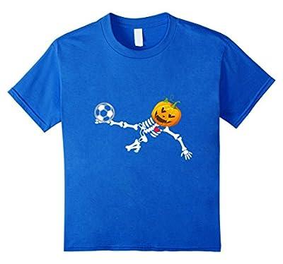 soccer skeleton halloween shirt Pumpkin head